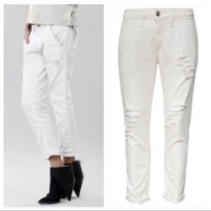 iro jeans / distressed straight leg ankle jeans
